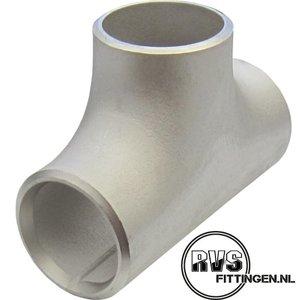 """RVS T-stuk, 5"""", 141.30 x 6.55 ASTM A403, 304, gelast, SCH40s"""